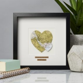 Personalised Double Heart Map Picture