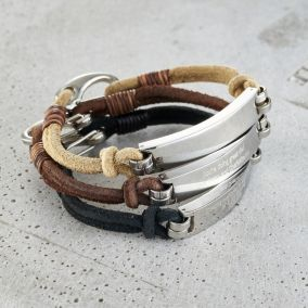 Personalised Men's Leather Cord Bracelet