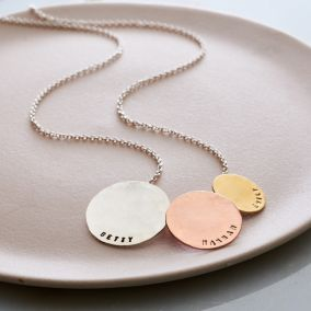 Personalised Tricolore Triple Hammered Disc Necklace
