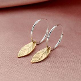 Leaf Hoop Earrings