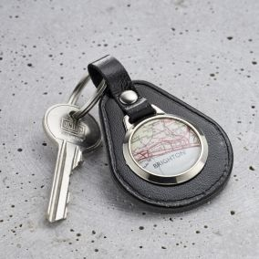 Personalised Vintage Leather Map Keyring