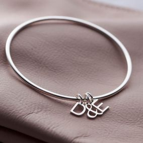 Personalised Letter Charm Bangle Rose Gold