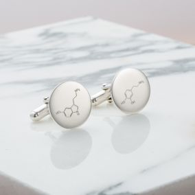 Personalised Love & Happiness Molecule Cufflinks