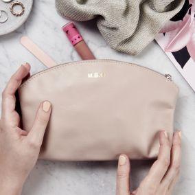 Personalised Leather Makeup Zip Bag