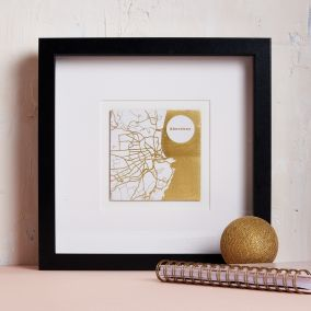 Personalised Gold Foil Square Map Picture