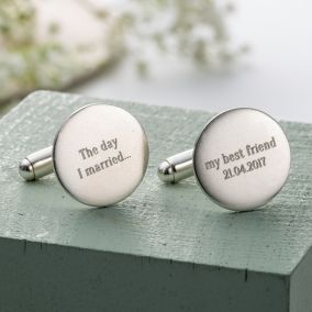 Personalised Wedding Message Cufflinks