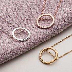 Personalised Medium Hoop Necklace
