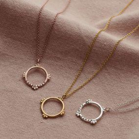 Personalised Medium Crown Hoop Necklace