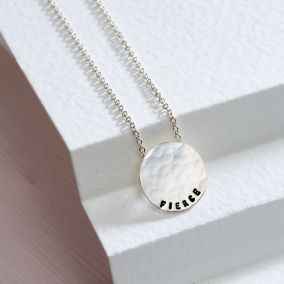 Personalised Medium Hammered Disc Necklace