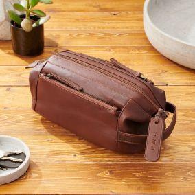 Personalised Genuine Leather Double Pocket Washbag