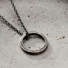 Personalised Men's Quote Circle Necklace
