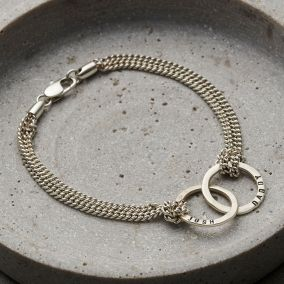 Personalised Men's Silver Double Hoop Bracelet