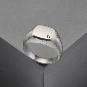 Men's Personalised Herringbone Signet Ring