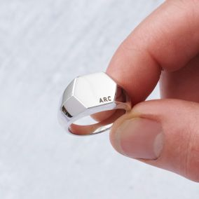 Unisex Personalised Hexagon Signet Ring