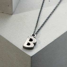 Men's Silver Initial Necklace