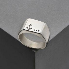 Men's Personalised Nautical Signet Ring