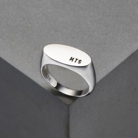 Men's Personalised Oval Signet Ring