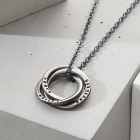 Personalised Men's Oxidised Russian Ring Necklace