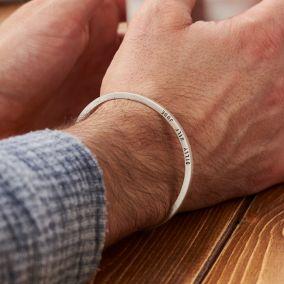 Personalised Men's Slim Silver Cuff
