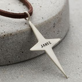 Personalised Men's North Star Necklace with leather cord