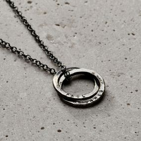 Personalised Men's Two Ring Russian Ring Necklace