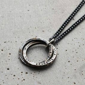 Personalised Men's Textured Interlinking Hoops Necklace