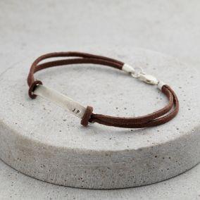 Men's Personalised Slim Leather Cord Bracelet
