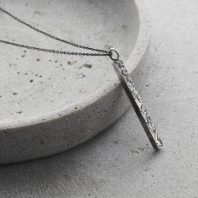 Personalised Men's Textured Silver Bar Necklace