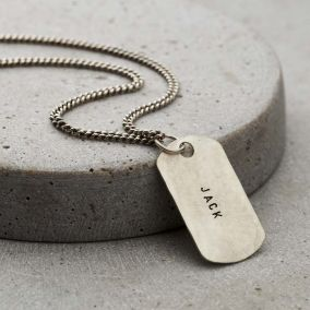 Personalised Men's Brushed Silver Dog Tag Necklace