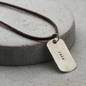 Personalised Men's Silver Dog Tag Necklace With Leather Cord