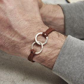 Personalised Men's Double Hoop Leather Bracelet