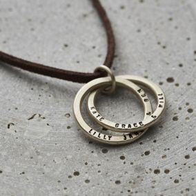 Personalised Men's Silver Interlinking Hoops Necklace With Leather Cord