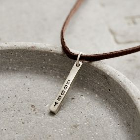 Personalised Men's Silver Bar Necklace With Leather Cord