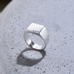 Personalised Unisex Silver Signet Ring