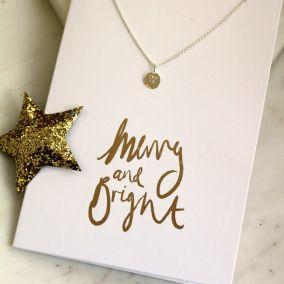 Gold Foil Christmas Card & Necklace Set