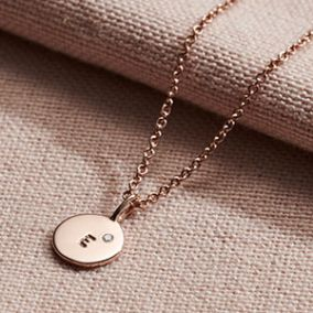 Personalised Mini Disc Initial Birthstone Necklace