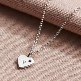 Personalised Mini Heart Initial Birthstone Necklace