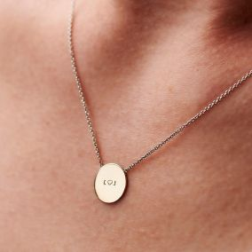 Personalised 9ct Gold Message Disc Necklace