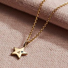 Personalised Mini Star Initial Birthstone Necklace