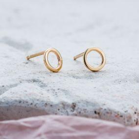 9ct Gold Fine Geometric Circle Earrings