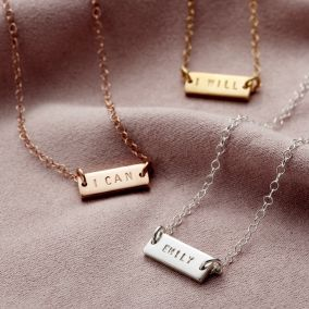 Personalised Mini Message Bar Necklace