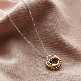 Personalised Textured Mixed Gold Mini Russian Ring Necklace