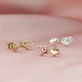 Mismatch Heart Stud Earrings