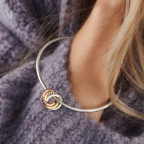 Personalised Mixed Gold Russian Ring Bangle