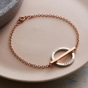 Personalised Mixed Metal Circle Bar Bracelet