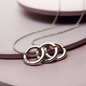 Personalised Trio Precious Stone Mini Message Necklace