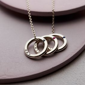 Personalised Trio Birthstone Mini Message Necklace