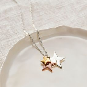 Personalised Mixed Gold Family Star Necklace
