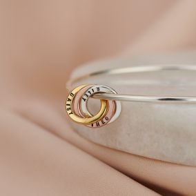 Personalised Mixed Gold Russian Ring Bangle