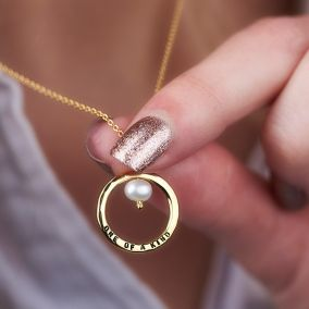 Personalised Pearl And Circle Necklace